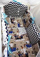 """Комплект в детскую кроватку """"Морячки"""". Бортик на 4 стороны и постельное"""