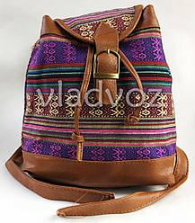 Молодежный модный рюкзак подросток девочка коричневый орнамент на шнурке