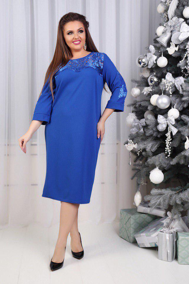 """Комбинированное платье-футляр """"MOLINA"""" с кружевом и четвертным рукавом (большие размеры)"""