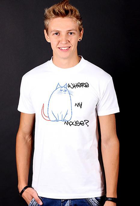 """Белая футболка мужская с принтом """"Где моя мышь?"""" спортивная хлопок"""