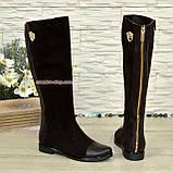 Замшевые женские сапоги демисезонные шоколадного цвета. Хит продаж!, фото 3