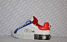 Кроссовки Женские Dolce & Gabbana эко-кожа белые с синими и красными вставками Код 1365, фото 3