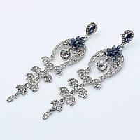 """Серьги-люстры """"Королевский сон""""  декорированы камнями и кристаллами"""