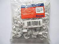 Крепеж кабельный круглый Ф14мм белый с гвоздем, сталь (100 шт)