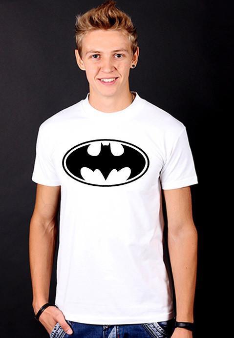"""Белая футболка мужская с принтом Бэтмен """"Batman"""" спортивная хлопок"""