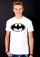 """Белая футболка мужская с принтом Бэтмен """"Batman""""спортивнаяхлопок"""
