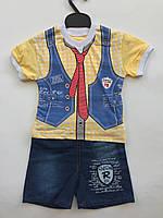 Футболка с джинсовыми шортами на мальчика 1 год галстук, фото 1