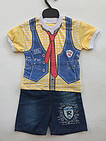 Футболка с джинсовыми шортами на мальчика 1-3 года галстук, фото 1