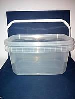 Ведро 5 л из пищевого пластика прямоугольное с крышкой (прозрачное) LP-504