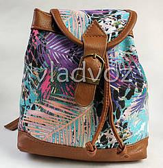 Молодежный модный рюкзак подросток девочка коричневый природа на шнурке