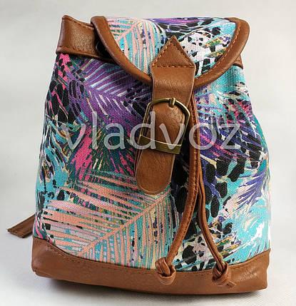 Молодежный модный рюкзак подросток девочка коричневый природа на шнурке, фото 2