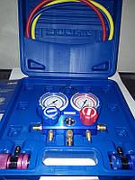 Манометрический коллектор для фреона R-134а с муфтами, отверткой и термометром