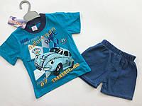 Футболка с джинсовыми шортами на мальчика 1-2 года , фото 1