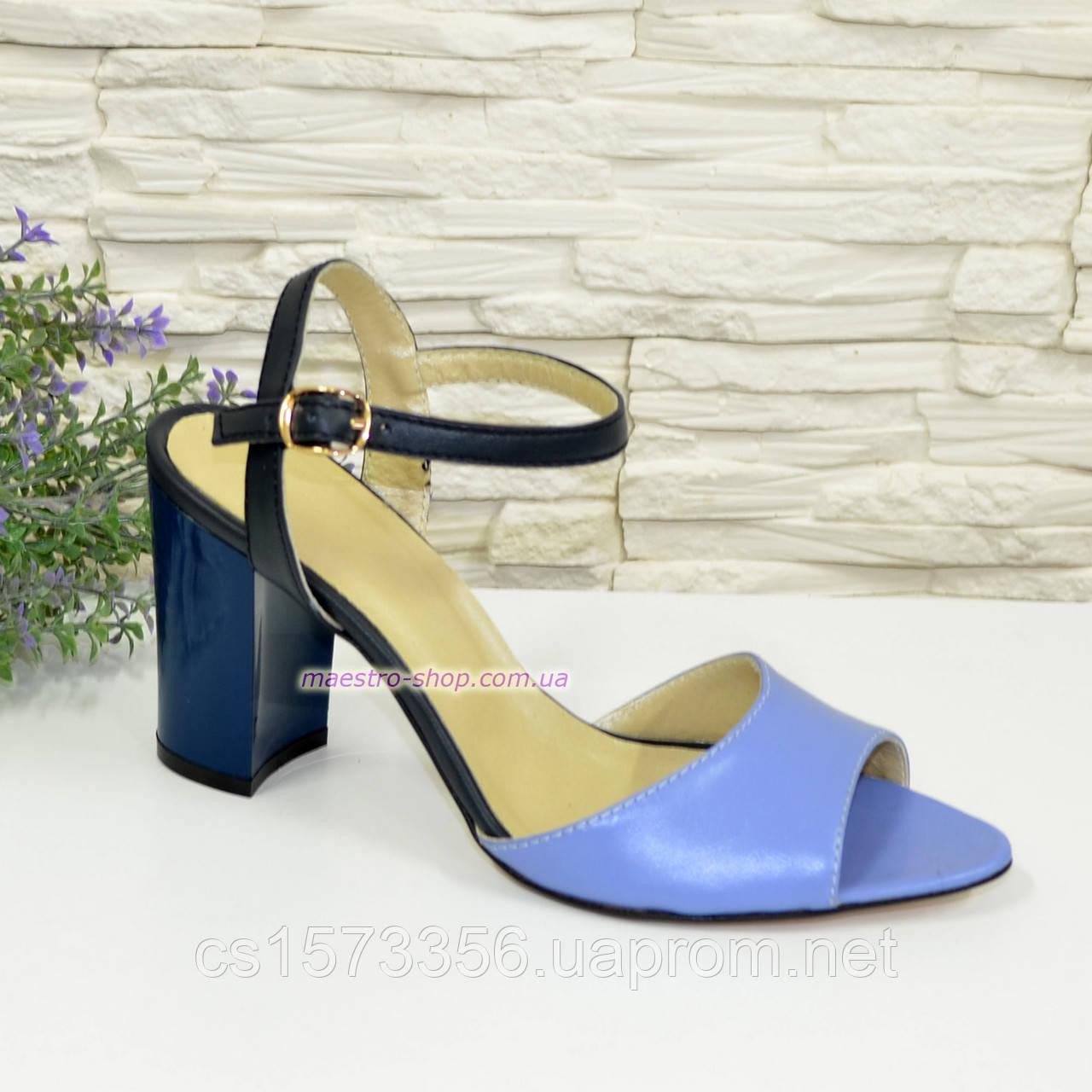 Женские кожаные босоножки на устойчивом каблуке, цвет голубой и синий.
