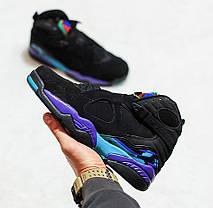 Мужские кроссовки Nike Air Jordan 8 Retro Aqua черные топ реплика, фото 2