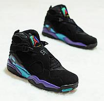 Мужские кроссовки Nike Air Jordan 8 Retro Aqua черные топ реплика, фото 3