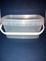 Ведро 2,3 л из пищевого пластика прямоугольное с крышкой (прозрачное) LP-204