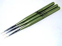 Набор кистей д.рисован. 3шт зеленая ручка