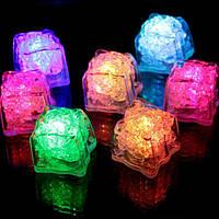 Батарея Powered LED Ice Cube Colorful Проблесковый маячок Датчик Погружной декор для бара Свадебное