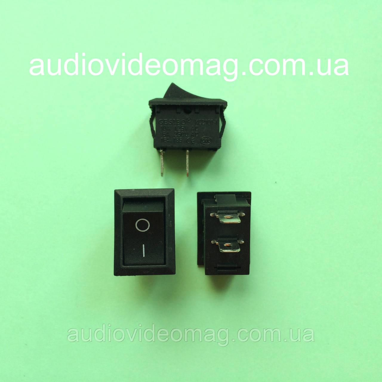 Мини переключатель клавишный  250V 6A, 18.8 х 12.9 мм, черный