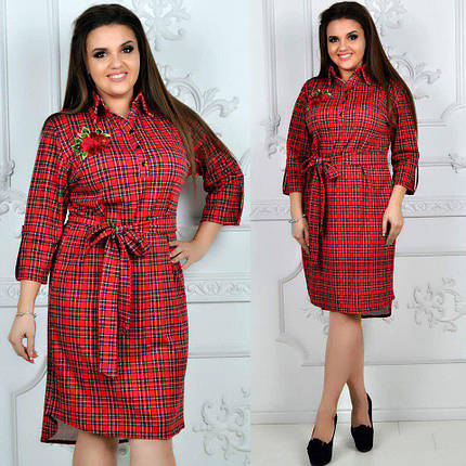 """Прямое трикотажное платье-рубашка в клетку """"LICITA"""" с вышивкой (большие размеры), фото 2"""
