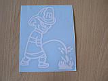Наклейка vc топливо универсальная Пожарник 110х135мм белая  на топливный бак бензобак бензин дизель Уценка, фото 3