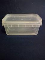 Емкость 0,5 л из пищевого пластика прямоугольная с крышкой (прозрачная) LP-514
