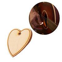 1pc 2mm Клен Вуд Heart-Shape Picks для акустической народной электрической гитары Bass Pick