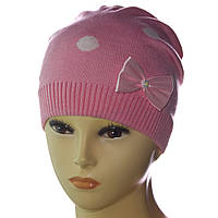 "В'язана шапка для дівчинки ""Горохи"""