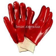 Перчатки из ПВХ красные с резинкой