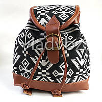 Молодежный модный рюкзак подросток девочка коричневый рисунок на шнурке