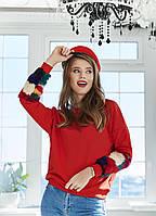 """Трикотажный женский свитшот """"Jungo"""" с цветным мехом (3 цвета)"""