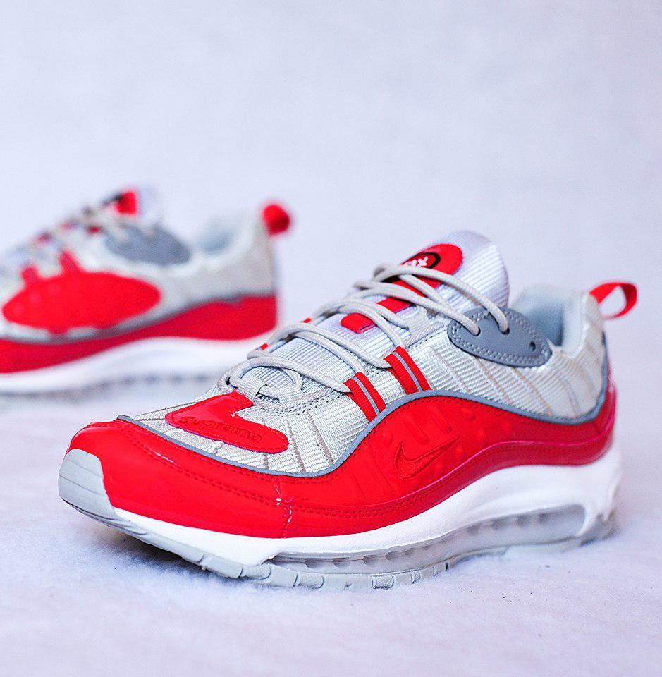 Мужские кроссовки Nike Air Max 98 Supreme Red Grey топ реплика