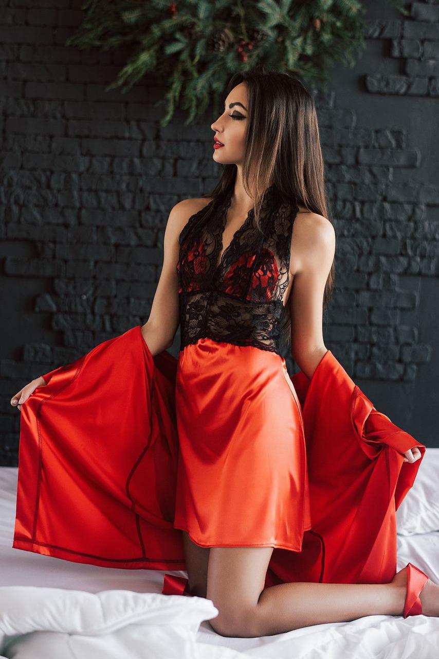 Пеньюар красный и халат в комплекте a3d84579e95a2