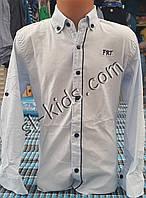Стильная стрейчевая рубашка для мальчика 6-14 лет (опт)(голубая 01) (пр. Турция)