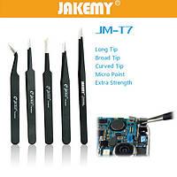 Jakemy JM-t7-12 DIY Электронные короткие инструменты для обслуживания пинцет пинцет из нержавеющей стали острым концом