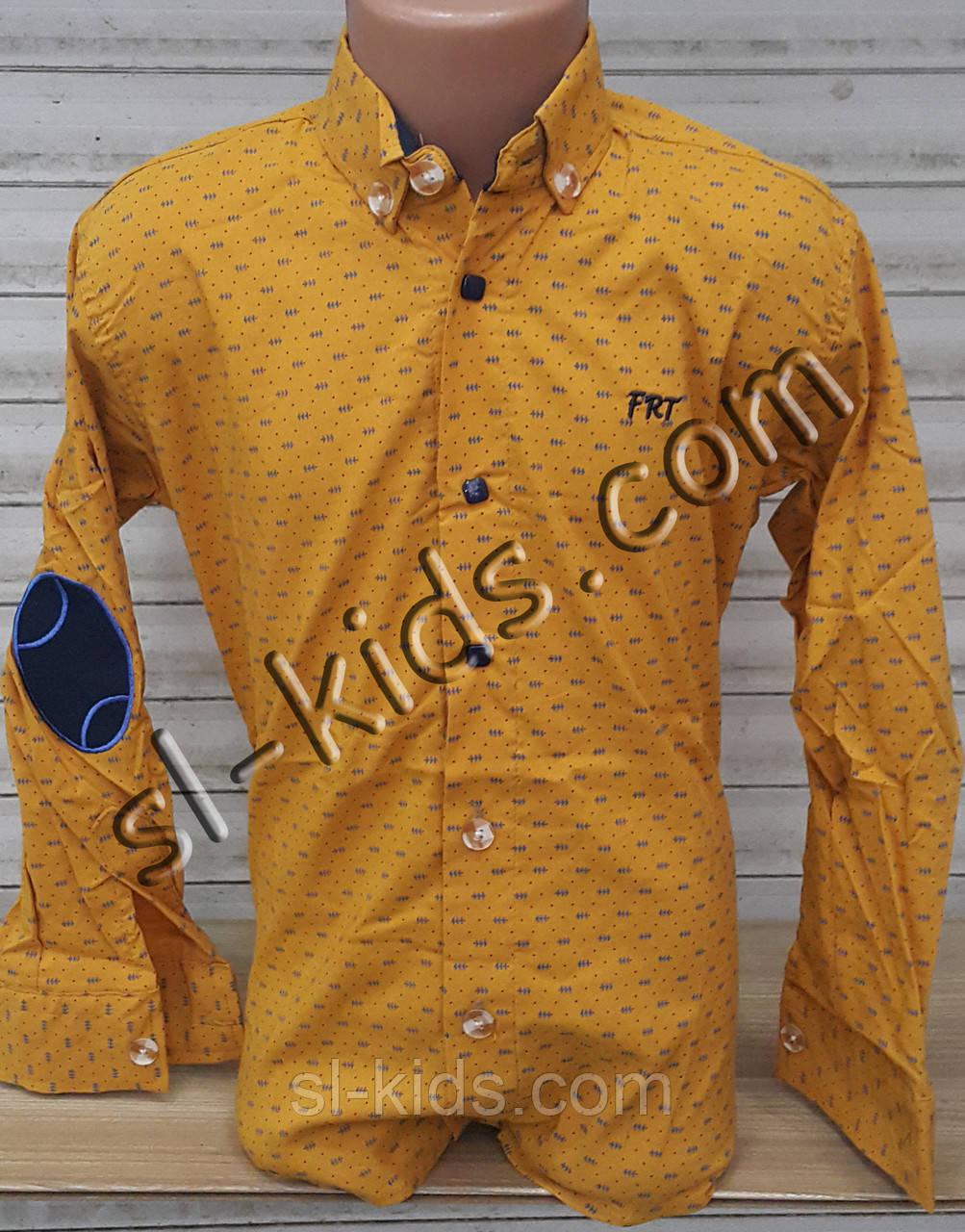Стильна стрейчева сорочка для хлопчика віком 6-14 років(опт) (гірчиця Н02) (пр. Туреччина)