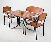 Комплект мебели «Фелиция» (стол+лавка+2 стула)для кафе, бара, ресторана, летней площадки, сада, дачи)