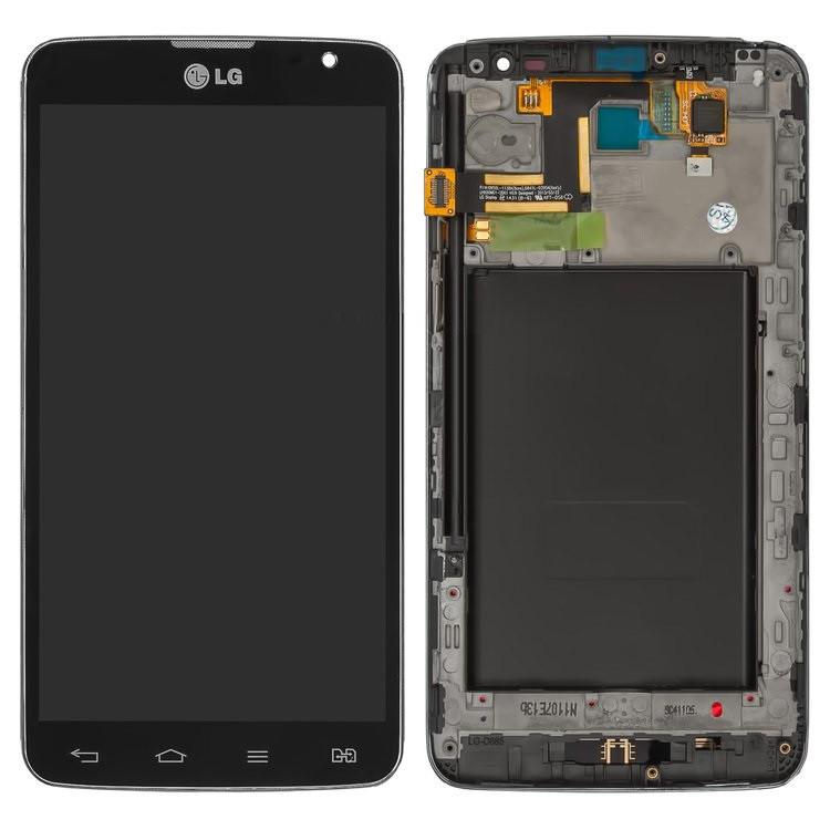 Дисплей (экран) для LG D686 G Pro Lite Dual с сенсором (тачскрином) и рамкой черный Оригинал