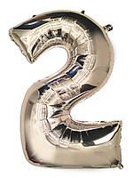 """Шар фольгированный серебряный цифра """"2"""" , 100 см."""