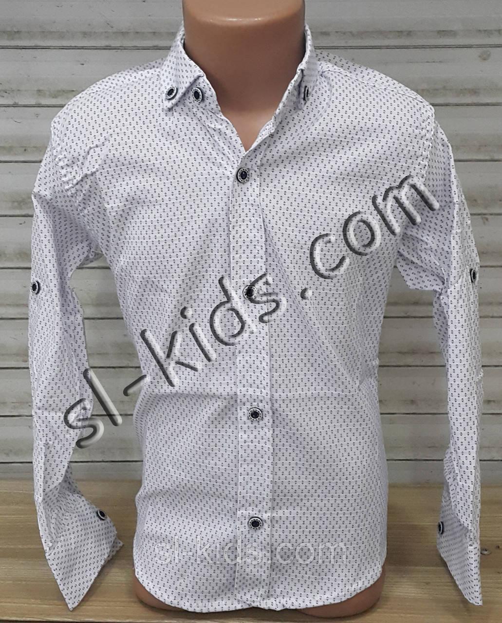 Стильная стрейчевая рубашка для мальчика 6-14 лет(белая Н01) (пр. Турция)