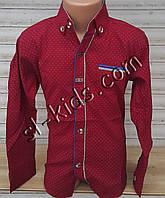 Стильная стрейчевая рубашка для мальчика 6-12 лет(бордо Н02) (пр. Турция)
