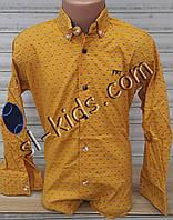 Стильная стрейчевая рубашка для мальчика 6-14 лет(горчица Н02) (пр. Турция)