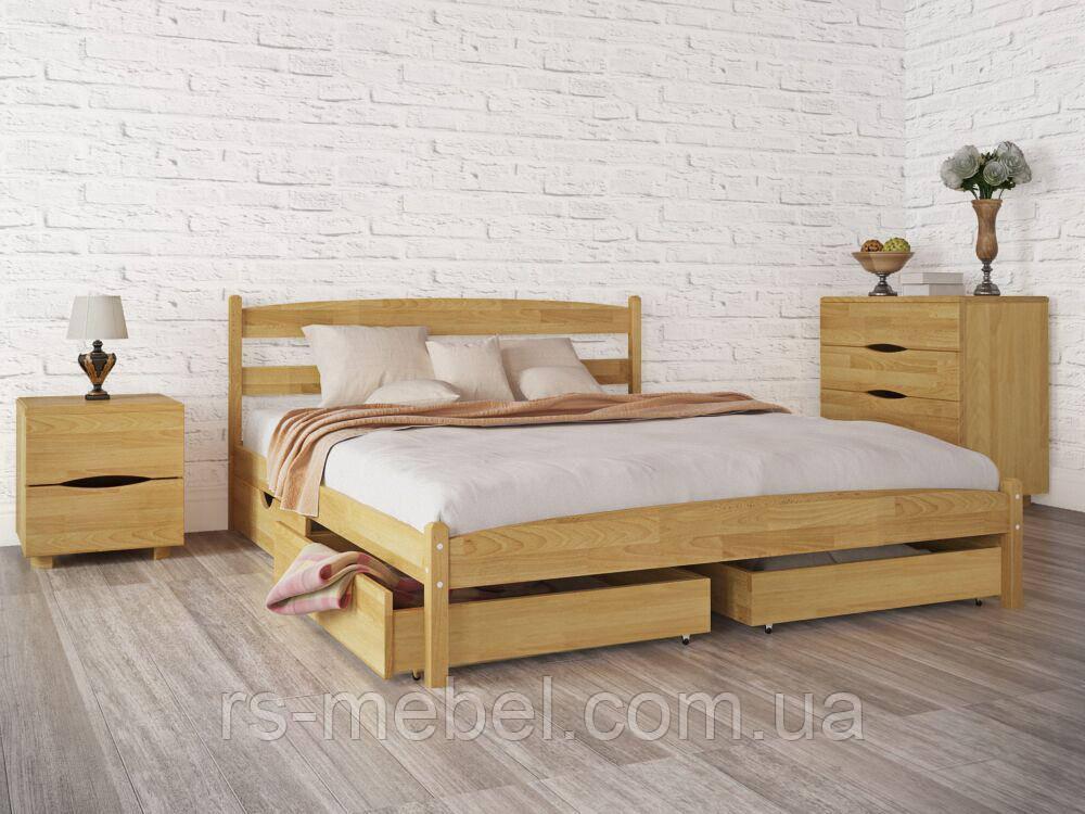 """Кровать двухспальная """"Лика без изножья с ящиками"""", дерево ( ТМ Олимп)"""