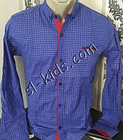 Стильная стрейчевая рубашка для мальчика 7-12 лет(розн) (ярко синяя) (пр. Турция)