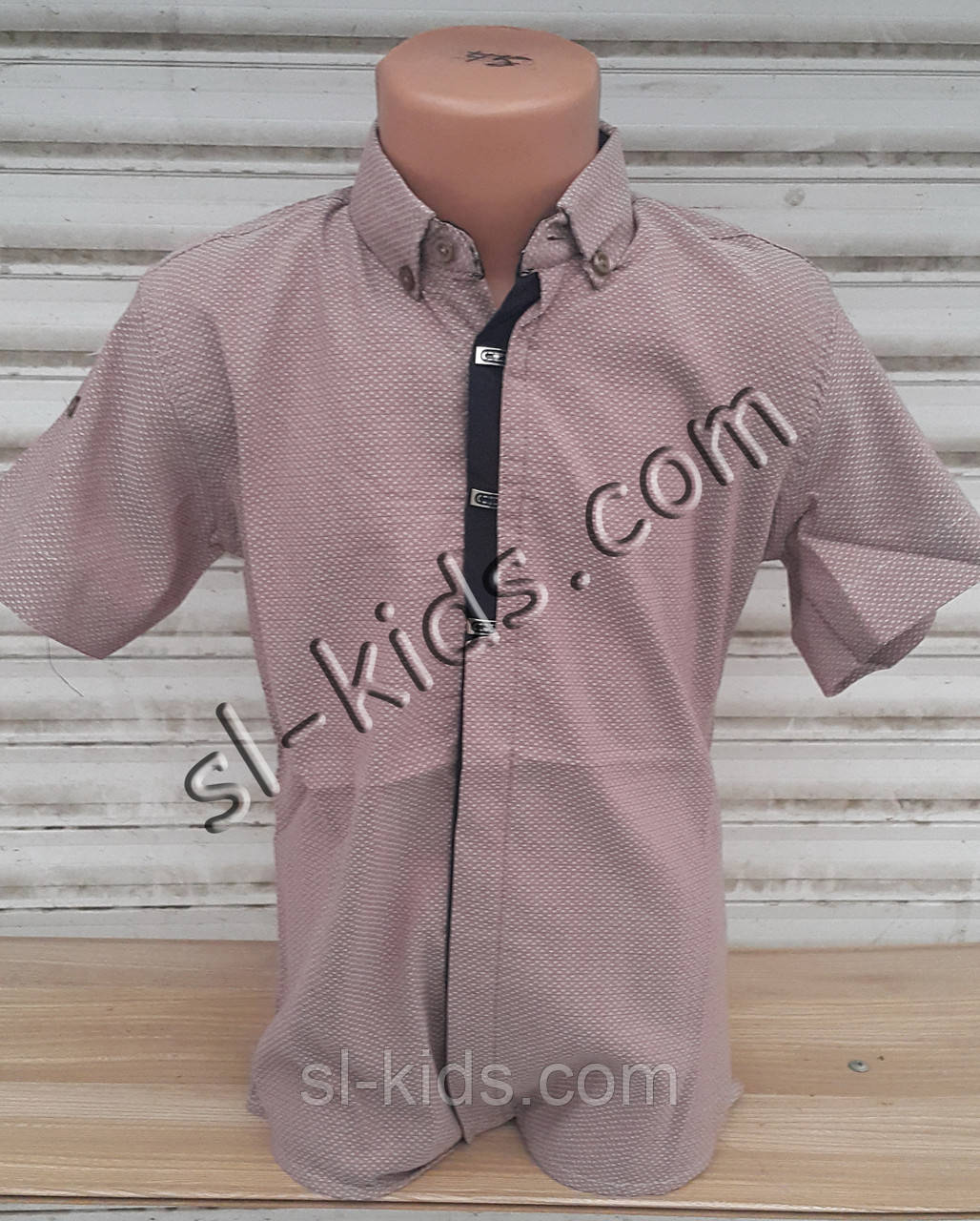 Стильная рубашка(шведка) для мальчика 6-14 лет (кофейная 02) (пр. Турция)