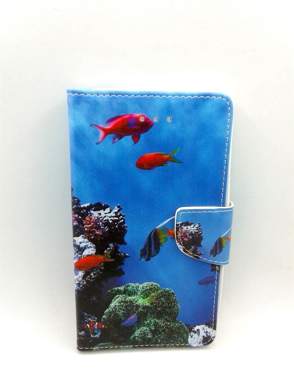 """Чехол-книжка 4you Art Print 3.5""""-4.0"""" Sea world универсальная - Акционная Цена!"""