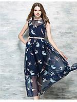 Длинное шифоновое платье с ярким принтом