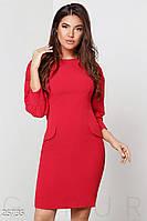 Яркое платье-футляр. Цвет насыщенный красный