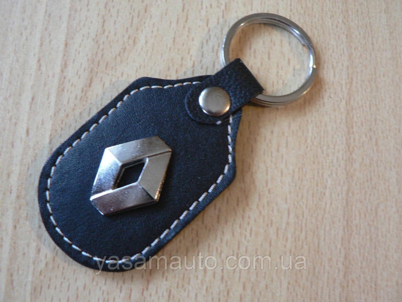 Брелок d продолговатый Renault 97мм 8г коже заменитель коричневый эмблема Рено с кольцом на авто ключи